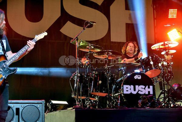 MIAMI BEACH, FL - APRIL 22: Robin Goodridge of the  band BUSH performs onstage at Fillmore Miami Beach on April 22, 2016 in Miami Beach, Florida. Credit: MPI10 / MediaPunch