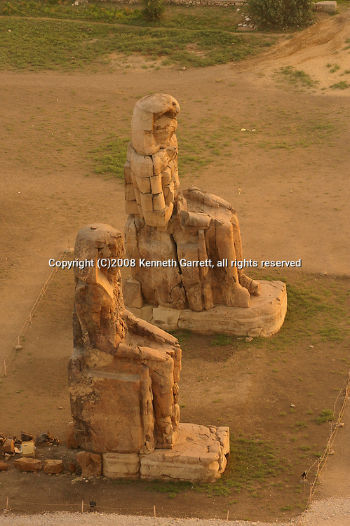 Egypt, Balloon Aerials, West Bank, Luxor, Colossi of Memnon, Amenhotep III, New Kingdom