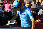 Davide Ballerini (ITA) Astana Pro Team with fans at sign on in Fortezza Medicea before the start of Strade Bianche 2019 running 184km from Siena to Siena, held over the white gravel roads of Tuscany, Italy. 9th March 2019.<br /> Picture: Eoin Clarke | Cyclefile<br /> <br /> <br /> All photos usage must carry mandatory copyright credit (© Cyclefile | Eoin Clarke)