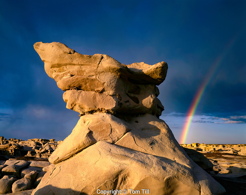 Rainbow over pinnacles, Bisti Wilderness, New Mexico, BLM Wilderness near Farmington