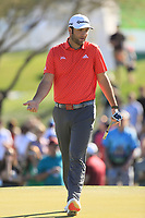 2nd February 2020, TPC Scottsdale, Arizona, USA;  Jon Rahm reacts after his putt misses on the second hole green during the final round of the Waste Management Phoenix Open