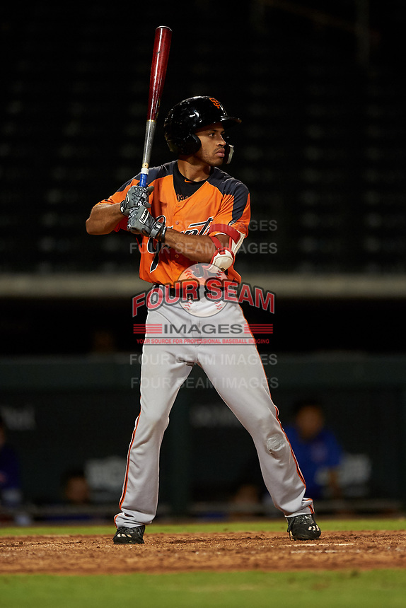 AZL Giants Orange Najee Gaskins (32) at bat during an Arizona League game against the AZL Cubs 1 on July 10, 2019 at Sloan Park in Mesa, Arizona. The AZL Giants Orange defeated the AZL Cubs 1 13-8. (Zachary Lucy/Four Seam Images)