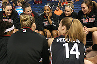 8 April 2008: Stanford Cardinal (clockwise from top left) Ashley Cimino, Jillian Harmon, Candice Wiggins, JJ Hones, Morgan Clyburn, Kayla Pedersen, Jayne Appel, and Rosalyn Gold-Onwude during Stanford's 64-48 loss against the Tennessee Lady Volunteers in the 2008 NCAA Division I Women's Basketball Final Four championship game at the St. Pete Times Forum Arena in Tampa Bay, FL.