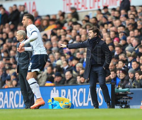 05.03.2016. White Hart Lane, London, England. Barclays Premier League. Tottenham Hotspur versus Arsenal. Mauricio Pochettino, the Tottenham manager shouts directions from the touchline.