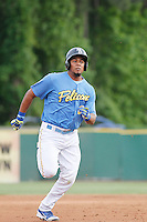 Myrtle Beach Pelicans infielder Jeimer Candelario (9) running the bases during a game against the Salem Red Sox at Ticketreturn.com Field at Pelicans Ballpark on May 6, 2015 in Myrtle Beach, South Carolina.  Myrtle Beach defeated Salem 4-2. (Robert Gurganus/Four Seam Images)