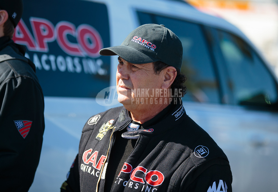 Feb 11, 2019; Pomona, CA, USA; NHRA top fuel driver Billy Torrence during the Winternationals at Auto Club Raceway at Pomona. Mandatory Credit: Mark J. Rebilas-USA TODAY Sports