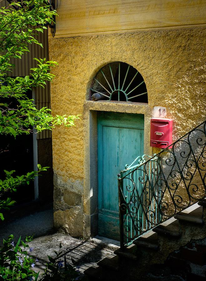 MANAROLA, ITALY - CIRCA MAY 2015:  Door in the village of Manarola in Cinque Terre, Italy.