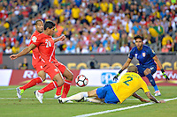 Photo during the match Brasil vs Peru, Corresponding to  Group -B- of the America Cup Centenary 2016 at Gillette Stadium.<br /> <br /> Foto durante al partido Brasil vs Peru, Correspondiente al Grupo -B- de la Copa America Centenario 2016 en el Estadio Gillette en la foto: (i-d)Edison Flores y Dani Alves<br /> <br /> <br /> 12/06/2016/MEXSPORT/ISAAC ORTIZ