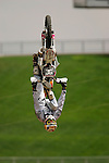 Travis Pastrana practices for the Freestyle Moto-x competition during X-Games 12 in Los Angeles, California on August 4, 2006.