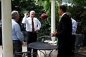 Washington, DC - June 10, 2009 -- United States President Barack Obama throws a football to Democratic Majority Leader Steny Hoyer of Maryland outside the Oval Office, June 10, 2009..Mandatory Credit: Pete Souza - White House via CNP