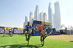 Vittorio Brumotti has some competition as he shows off his skills at sign on before the  start of Stage 5 The Meraas Stage final stage of the Dubai Tour 2018 the Dubai Tour&rsquo;s 5th edition, running 132km from Skydive Dubai to City Walk, Dubai, United Arab Emirates. 10th February 2018.<br /> Picture: LaPresse/Massimo Paolone | Cyclefile<br /> <br /> <br /> All photos usage must carry mandatory copyright credit (&copy; Cyclefile | LaPresse/Massimo Paolone)