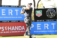 Alexandre Kaleka (FRA) on the 18th tee during Round 1 of the ISPS HANDA Perth International at the Lake Karrinyup Country Club on Thursday 23rd October 2014.<br /> Picture:  Thos Caffrey / www.golffile.ie