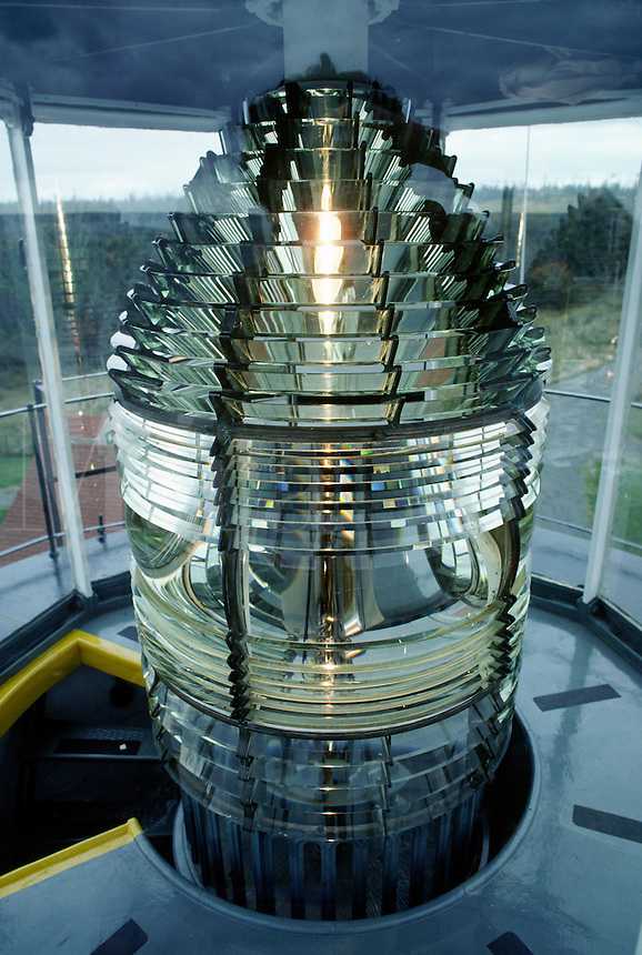 Glass PRISMS on the FRESNEL LENS of WEST QUODDY HEAD LIGHTHOUSE (1808) flash light 4 times each minute - MAINE, USA