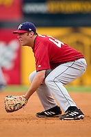 Huntsville first baseman Brad Nelson on defense versus Carolina at Five County Stadium in Zebulon, NC, Wednesday, July 19, 2006.