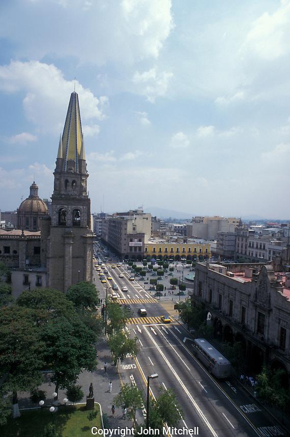 Traffic on Avenida Hidalgo in downtown Guadalajara, Jalisco, Mexico