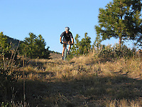 Mountain biking can be enjoyed by people of all ages. This mountain biker is enjoying the trails at the Echo Ridge Nordic Ski Area in the Lake Chelan drainage.