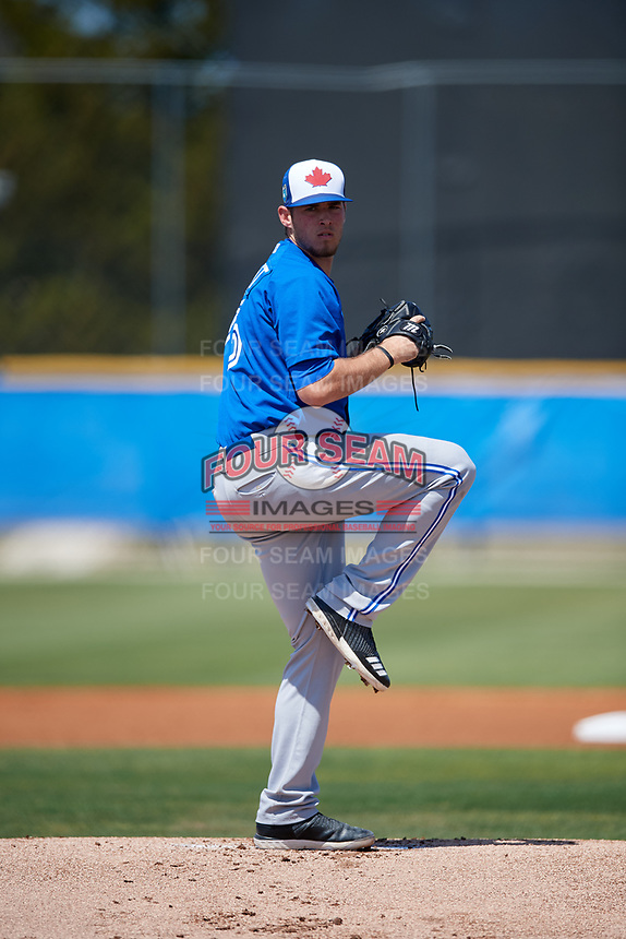 Toronto Blue Jays pitcher Jordan Barrett (75) during a Minor League Spring Training game against the New York Yankees on March 18, 2018 at Englebert Complex in Dunedin, Florida.  (Mike Janes/Four Seam Images)