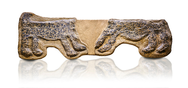 painted leopard relief. The people of Catalhoyuk had a special religious meaning with leopards. These platered reliefs have many coats of plater indicating their long term importance. 6000 BC,  Catalhoyuk Collections. Museum of Anatolian Civilisations, Ankara. Against a white background
