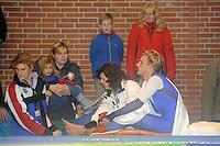 SCHAATSEN: DEVENTER: IJsstadion De Scheg, 12-10-2013, Nationale schaatswedstrijd de IJsselcup, Aron Romeijn na val afgevoerd naar het ziekenhuis, ©foto Martin de Jong