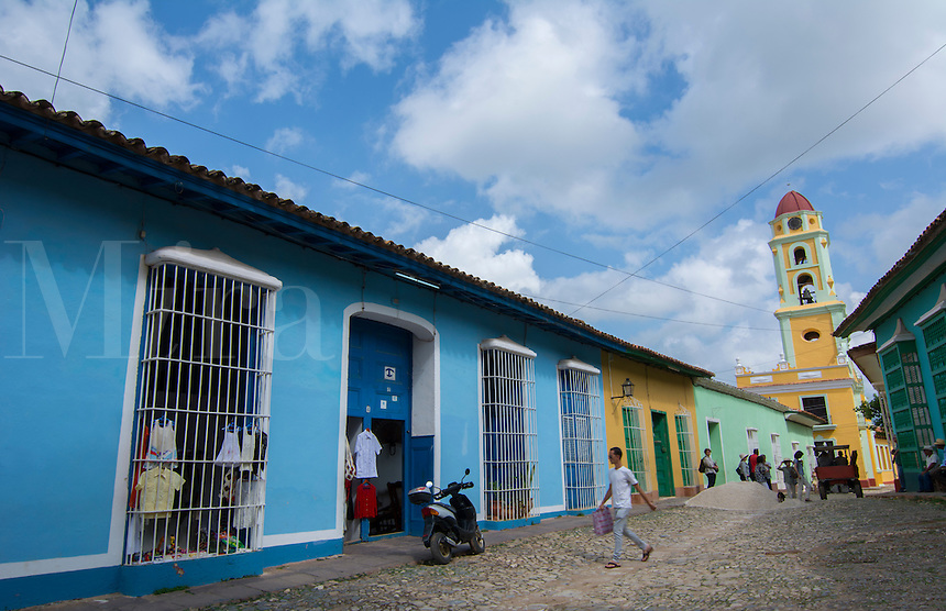 Trinidad Cuba downtown cobblestone streets and church