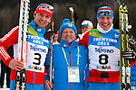 Russians at the podium of the Men Skiathlon event as part of the Trentino 2013 Winter Universiade Italy on 12/12/2013 in Lago Di Tesero, Italy.<br /> <br /> &copy; Pierre Teyssot - www.pierreteyssot.com