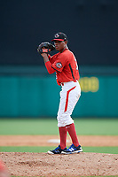 Canadian Junior National Team pitcher Noah Lalonde (16) gets ready to deliver a pitch during a Florida Instructional League game against the Atlanta Braves on October 9, 2018 at the ESPN Wide World of Sports Complex in Orlando, Florida.  (Mike Janes/Four Seam Images)