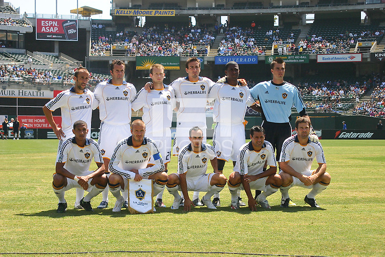 LA Galaxy starting eleven. San Jose Earthquakes defeated LA Galaxy 3-2. August 3, 2008, McAfee Coliseum, Oakland, CA.
