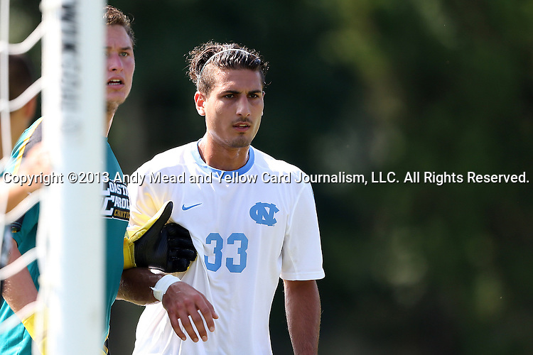 02 September 2013: North Carolina's Raby George (SWE) (33). The University of North Carolina Tar Heels hosted the Coastal Carolina University Chanticleers at Fetzer Field in Chapel Hill, NC in a 2013 NCAA Division I Men's Soccer match. UNC won the game 4-0.