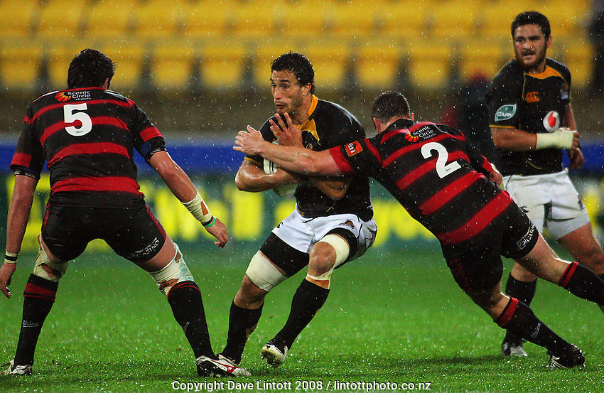 Corey Flynn tackles Tane Tu'ipulotu during the Air NZ Cup Final between Wellington and Canterbury at Westpac Stadium, Wellington, New Zealand on Saturday 25th October 2008.  Photo: Dave Lintott / lintottphoto.co.nz
