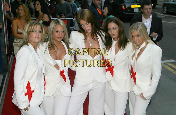 GLAM R US.The Football Factory - UK Charity Film Premiere, Odeon, West End, London, WC2.May 10th, 2004.Glam'R'Us, girl band, half length, half-length, matching outfits, cleavage, plunging necklines.www.capitalpictures.com.sales@capitalpictures.com.© Capital Pictures..