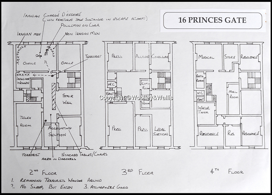 BNPS.co.uk (01202 558833)<br /> Pic: Woolley&Wallis/BNPS<br /> <br /> A floor layout which would have been given to members of the SAS before the siege. All hostages are marked with an X.<br /> <br /> An SAS hero of the Iranian Embassy siege is selling his medals for £30,000 to help fund his retirement.<br /> <br /> Warrant Officer Ian White is also auctioning his copy of the layout of the building which highlighted the known location of the terrorists and hostages to aid the SAS in their famous mission.<br /> <br /> He was one of the first of the crack team of commandos to enter the London embassy and end the six day siege in May 1980.<br /> <br /> He and a colleague went from room to room using flashbang stun grenades to clear it.<br /> <br /> All but one of the 25 hostages alive at the start of Operation Nimrod were rescued. Five of the six gunmen were killed.<br /> <br /> His medals are being sold by auctioneers Woolley and Wallis of Salisbury, Wilts.