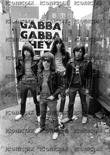 THE RAMONES - L-R: Johnny Ramone, Tommy Ramone, Joey Ramone, Dee Dee Ramone - Photosession in Liverpool UK - 19 May 1977.  Photo credit: Ian Dickson/IconicPix