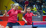 Wales Anna Hursey in action during her doubles match with Wales Charlotte Carey<br /> <br /> *This image must be credited to Ian Cook Sportingwales and can only be used in conjunction with this event only*<br /> <br /> 21st Commonwealth Games - Table tennis -  Day 1 - 05\04\2018 - Oxenford - Gold Coast City - Australia