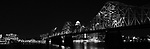 Black and whites of the Louisville, Kentucky, skyline.