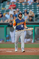 Nick Martini (38) of the Las Vegas Aviators walks back to the dugout against the Salt Lake Bees at Smith's Ballpark on July 20, 2019 in Salt Lake City, Utah. The Aviators defeated the Bees 8-5. (Stephen Smith/Four Seam Images)
