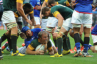 Schalk Burger of South Africa scores a try despite the efforts of Ole Avei during Match 15 of the Rugby World Cup 2015 between South Africa and Samoa - 26/09/2015 - Villa Park, Birmingham<br /> Mandatory Credit: Rob Munro/Stewart Communications
