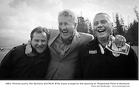 Tommy Lyons, Pat Spillane and Paidi O'Se enjoy a laugh at the opening of Templenoe Field in Kenmare on Saturday..Picture by Don MacMonagle