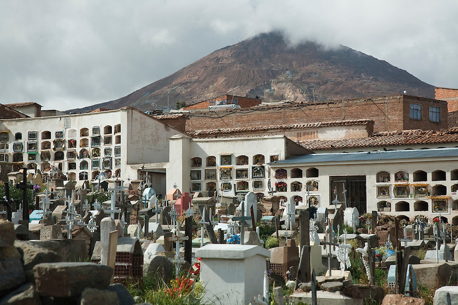 Miner's cemetery in Potosí, Bolivia.  Millions have died mining the infamous Cerro Rico that still lords over the city.