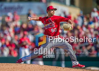 6 March 2016: St. Louis Cardinals pitcher Arturo Reyes on the mound during a Spring Training pre-season game against the Washington Nationals at Roger Dean Stadium in Jupiter, Florida. The Nationals defeated the Cardinals 5-2 in Grapefruit League play. Mandatory Credit: Ed Wolfstein Photo *** RAW (NEF) Image File Available ***