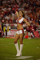 Aug. 31, 2006; Glendale, AZ, USA; An Arizona Cardinals cheerleader performs against the Denver Broncos at Cardinals Stadium in Glendale, AZ. Mandatory Credit: Mark J. Rebilas
