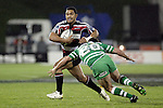 Lelia Masaga tries to beat Joggie Viljoen during the Air New Zealand rugby game between Counties Manukau Steelers & Manawatu, played at Mt Smart Stadium on the 22nd of September 2006. Counties Manukau 25 - Manawatu 25.