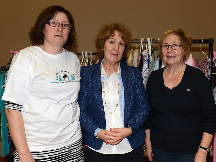 Mary Shelly O'Neill, Bernadette Sullivan and Penny Butler pictured at the Bric-a-Brac sale in St Peter's church hall. Photo: Colin Bell/pressphotos.ie
