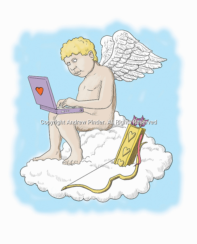 Cupid using laptop instead of bow and arrow