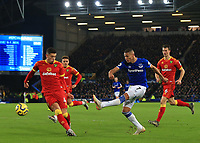 23rd  November 2019; Goodison Park , Liverpool, Merseyside, England; English Premier League Football, Everton versus Norwich City; Richarlison of Everton  shoots as Ben Godfrey of Norwich City - Strictly Editorial Use Only. No use with unauthorized audio, video, data, fixture lists, club/league logos or 'live' services. Online in-match use limited to 120 images, no video emulation. No use in betting, games or single club/league/player publications