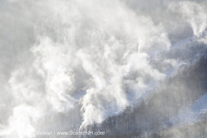 Franconia Notch State Park - Snow making at Cannon Mountains in the White Mountains, New Hampshire USA from Artists Bluff