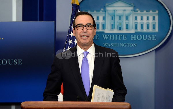 United States Secretary of the Treasury Steven Mnuchin speaks in the Press Briefing Room of the White House on February 14, 2017 in Washington, DC. <br /> Credit: Olivier Douliery / Pool via CNP /MediaPunch