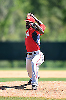 Washington Nationals pitcher Deion Williams (45) during a minor league spring training game against the Atlanta Braves on March 26, 2014 at Wide World of Sports in Orlando, Florida.  (Mike Janes/Four Seam Images)
