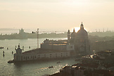 ITALY, Venice. A view of the Grand Canal and the Basilica di Santa Maria della Salute from St. Mark's Campanile, the bell tower at St. Mark's Square.