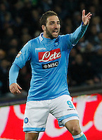 Gonzalo Higuain  during the Italian Serie A soccer match between SSC Napoli and AS Roma   at San Paolo stadium in Naples, March 09 , 2014