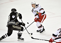 HERSHEY, PA - JANUARY 05: Grand Rapids Griffins defenseman Vili Saarijarvi (9) blocks a shot during the Grand Rapids Griffins vs. Hershey Bears AHL game at the Giant Center in Hershey, PA. (Photo by Randy Litzinger/Icon Sportswire)